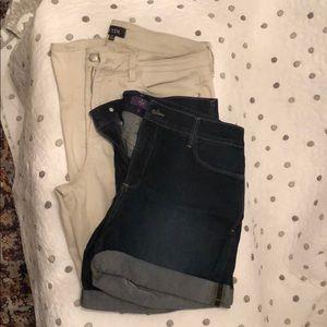 Lot of 2 NYDJ crop pants and denim shorts